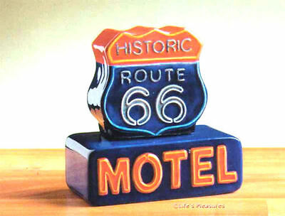 HISTORIC ROUTE 66 MOTEL SIGN Salt & Pepper Shakers Set -  CLAY ART  NEW & MIB