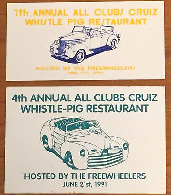 '91 '94 Freewheelers Annual All Club Cruise Whistle-Pig Dash  Plaque Lot