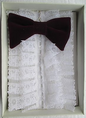 New Ex shop stock  child ruffle and bow tie  maroon