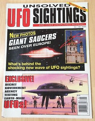 Unsolved UFO Sightings #1! 1993 Magazine Fine/VF! FREE US SHIPPING!