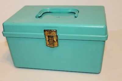 Vintage Small Wilson Wil-Hold Turquoise Plastic Sewing Box w/Tray Insert