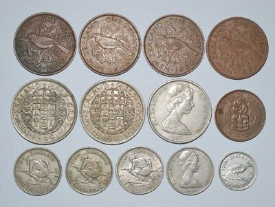 New Zealand coins x13 Half crowns, 50c, Pennies, Half penny, Shillings, sixpence