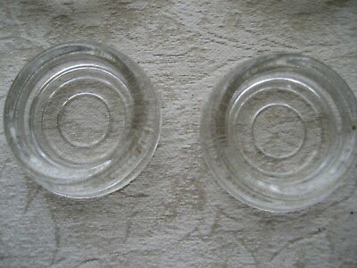 """2 Vintage Clear Glass Coasters CONCENTRIC CIRCLE DESIGN Furniture  2.5"""" dia"""