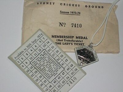 Sydney Cricket Ground Lady`s Ticket/badge 1973-74