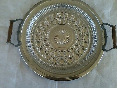 """Kromex Vintage Chrome and Cut Glass Serving Tray 13"""" Diameter"""