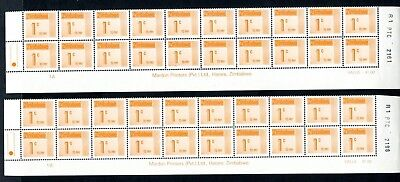1985 ZIMBABWE POSTAGE DUE 1c Bottom 2 Rows REPRINT R1  1A and 1B D28 UNC