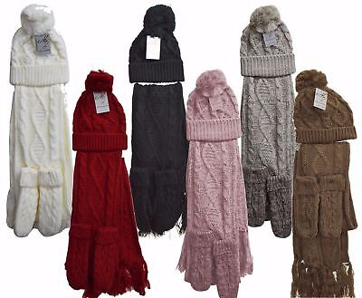 73024b6a807e09 Womens Ladies Wooly Thick Knit Hat Scarf AND Gloves Set Knitted Woollen  Winter