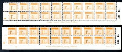 1985 ZIMBABWE POSTAGE DUE 1c Bottom 2 Rows Different COLOURS  1A and 1B D28 UNC