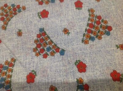 Retro Vintage Cotton Fabric Red Yellow Floral On Blue I90 Cm  300 Cm