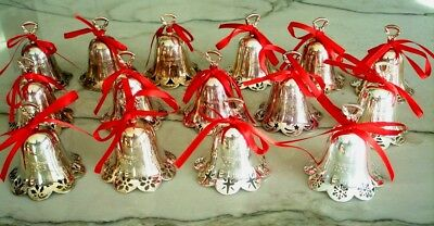 Christmas Ornament  Towle  Silver Plated Bell  lot of 15