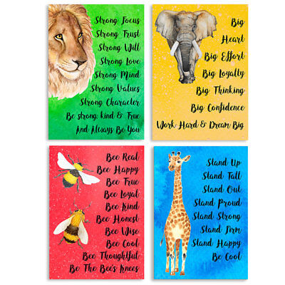 Funny Motivational Inspirational Posters 4 Pack A3 Schools Nurseries Youth Clubs