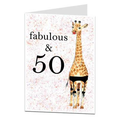 50th Birthday Card Fabulous & 50 For Women Sister Best Friend Mum Funny Quirky