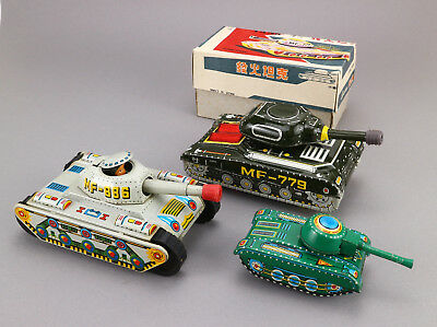 CHINA Blech MF 074 MF 886 MF 779 Panzer 70's Vintage tin toy tank