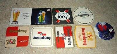 Collectable beer coasters - Set of 9 assorted Kronenbourg beer coasters (FRANCE)