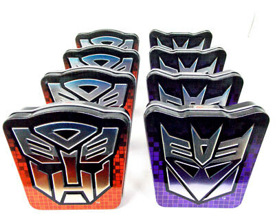 Decepticon  and Autobot Transformer Shield Metal Collector Tins  8 Pack No Candy