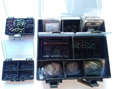 Carp Fishing Terminal End Tackle Box LOADED Weighs Lead Clips Hooks Swivels +++