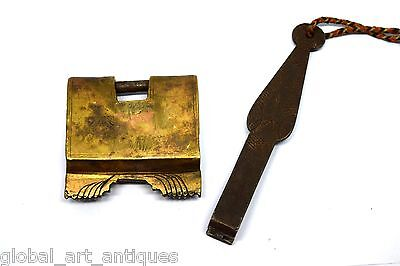 Antique Rare Hand Forged Unique Mechanism Brass Strip System Padlock. G2-208