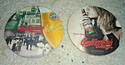 Collectable beer coasters - Set of 2 Budejovicky Budvar beer coasters (CZECH)