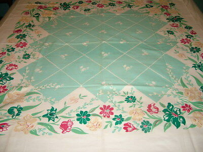 Glorious VINTAGE Tablecloth 50x50 Green-Red-Yellow DAFFODILS Floral ~SIMTEX