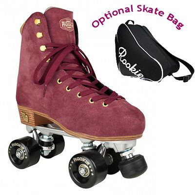 New Rookie Classic Suede Quad Roller Skates with Optional Bag