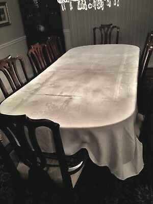 "Vintage Antique White Irish Linen Double Damask Tablecloth Hand Hemmed 88"" X 106"