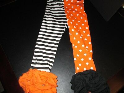 Mud Pie Halloween Orange and Black Tights, Size 4T, New