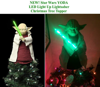 star wars yoda christmas tree topper led light up lightsaber kurt adler