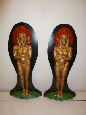Large vintage pair of polychrome cast metal wall plaques of American Chief 1960