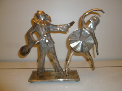 Art Deco silvered metal figural group sculpture of Pierrot and Ballerina 1920s