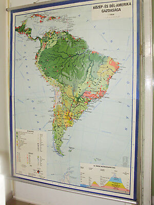 Vintage,Huge large Pull Down Chart ,Map,South America ,Economy School Chart II.