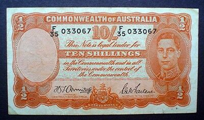 AUSTRALIA ~ KING GEORGE VI ~  10 SHILLINGS 1942 f+.