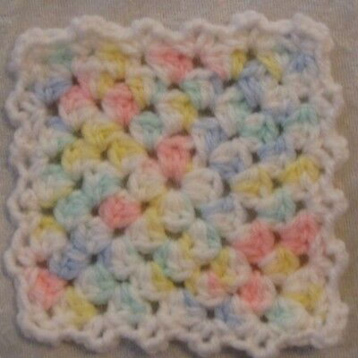 Miniature DOLLHOUSE BABY Crochet Mini BLANKET, Afghan, Quilt #6 Baby Soft Pastel