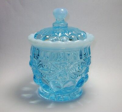 Vintage Mosser Eyewinker Aqua Blue Opalescent Glass Sugar Condiment Jam Jar