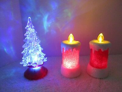 3 Color Changing, Blinking, Flickering Christmas Tree & Candle Holiday Decor