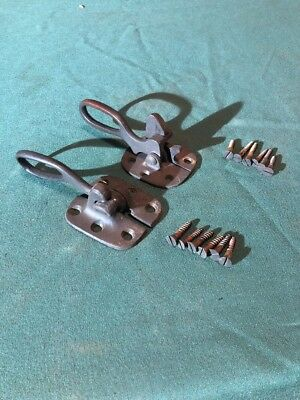 Two Antique Brass Ice Box Latches And Door Handles With Original Screws Vintage