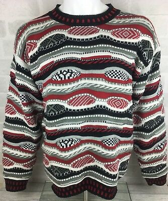 Vintage Coogi Style Chunky 3D Knit Sweater Jumper Hip Hop Biggie Smalls - Size L