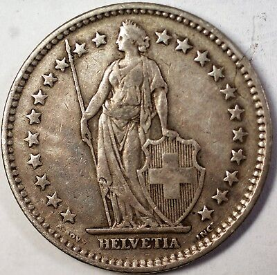 1940 B Switzerland 2 Francs Average Circulated Helvetia Silver Coin