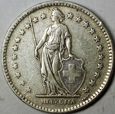 1944 B Switzerland 2 Francs Average Circulated Helvetia Silver Coin