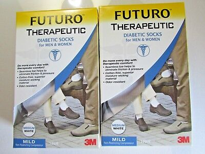 (2units) Futuro Therapeutic Diabetic Socks for Men/Women White Medium