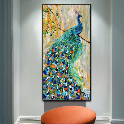 VV332 Modern House Decoration art Hand-painted Animal oil painting Peacock 36in