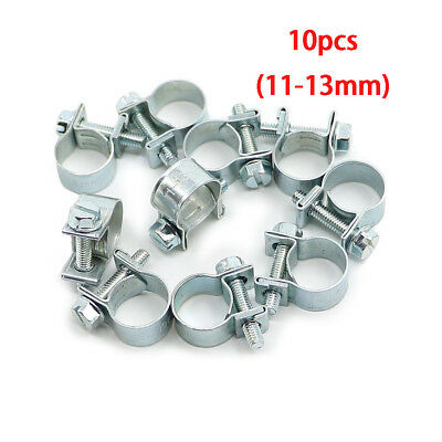 10pcs Metal Adjustable Car Hose Clip Clamps Pipe Tube Click Pipe Clamp 11-13mm