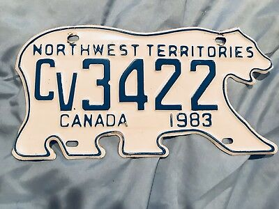1983 Northwest Territories POLAR BEAR  Commercial License Plate FREE SHIPPING!