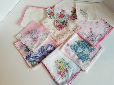 Vintage Ladies Hankies Lot of 9 Pink Mostly Floral