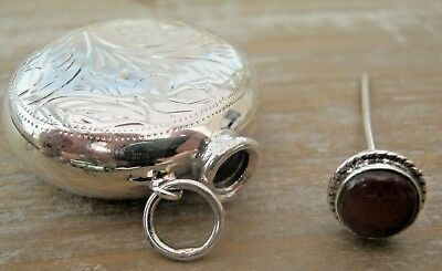 English HM Sterling Silver & Onyx Engraved Chatelaine Scent Perfume Snuff Bottle