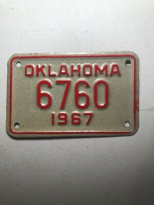 Oklahoma 1967 Motorcycle License Plate
