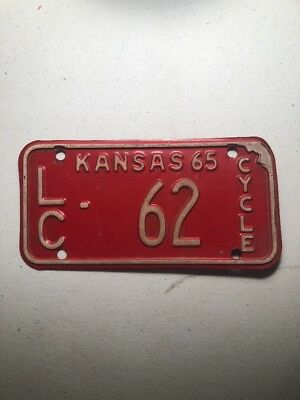 Kansas 1962 Motorcycle License Plate