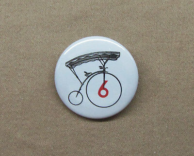 "The Prisoner Number 6 Bicycle Button 1.25"" Penny Farthing Village Badge Pin Six"