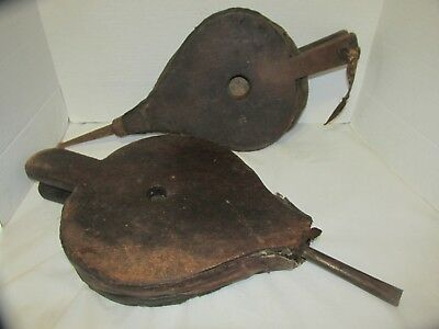 Lot of 2 Antique Fire Place Bellows Wood & Leather LQQK!