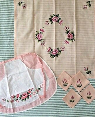 VTG Set Linen Hand Painted Flowers Square Topper Tablecloth Apron Napkins