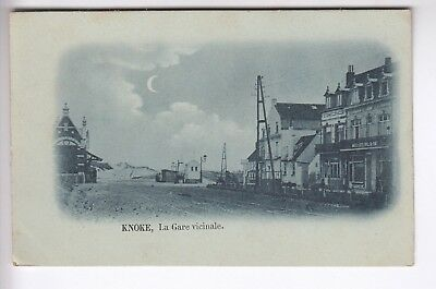 Cpa Europe Belgique  - Knoke La Gare Vicinale Hotel Commerce Rail Vers 1910 ~C77